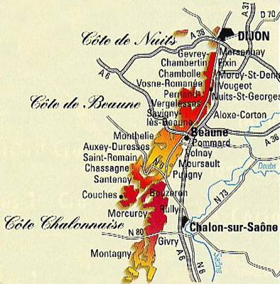 Image result for Burgundy wine region map
