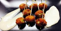Sausage Stuffed Olives with Garlic Aioli image