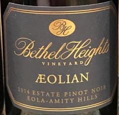 Image result for 2014 Bethel Heights Pinot Noir Aeolian Willamette Valley