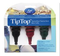 Tiptop® Reusable Wine Cork / Pourer - 3-Pack - assorted colors image